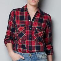 New Women Cotton Colored Long Sleeved Shirt Plaid Print Shirts Ladie Rivet Blouse Casual Top