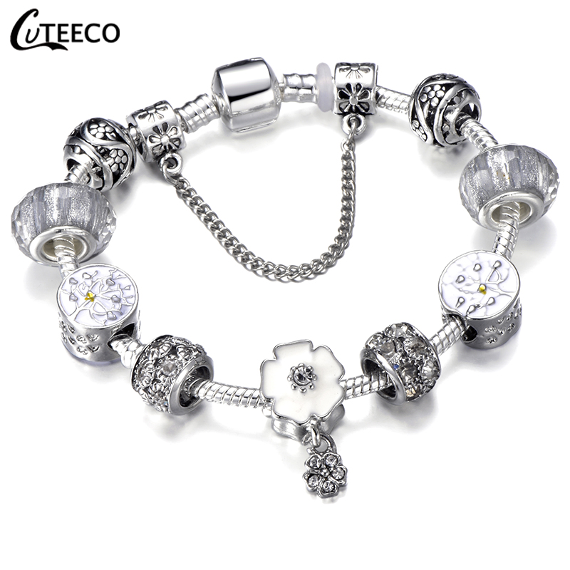 HTB14gdFd.GF3KVjSZFmq6zqPXXaE - CUTEECO Antique Silver Color Bracelets & Bangles For Women Crystal Flower Fairy Bead Charm Bracelet Jewellery Pulseras Mujer