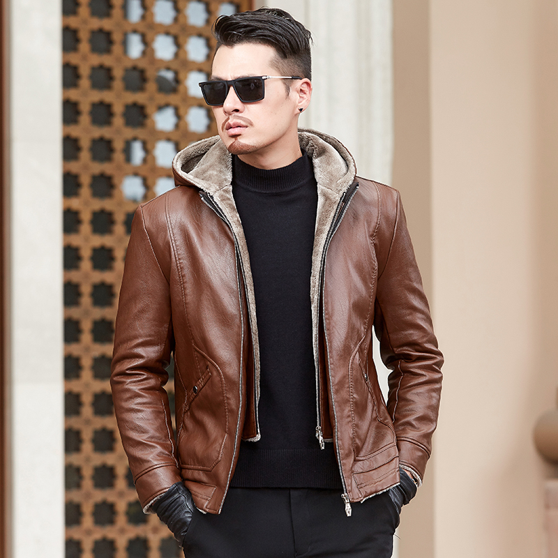 Plus Size L-6XL Men's Warm Winter Coat Leather Winter Hooded Fur Lining Leather Jackets Outerwear Parka Fashion Removable Hat