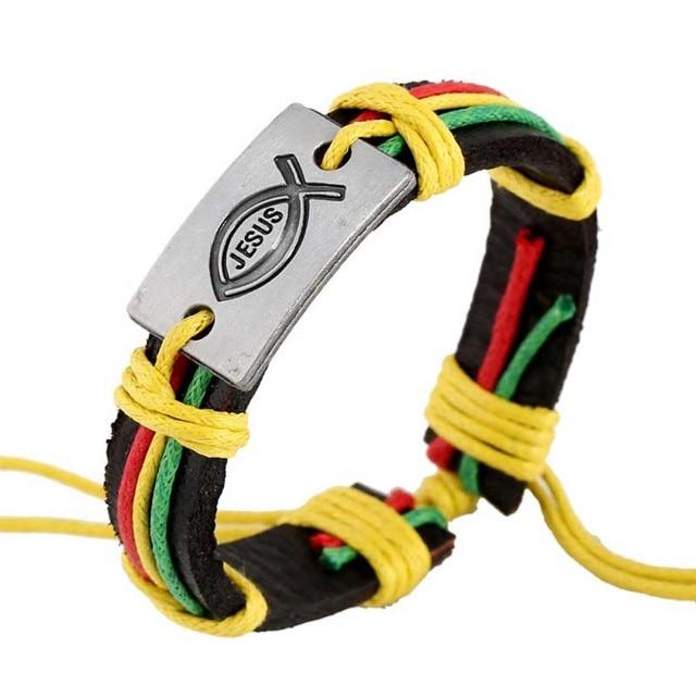 US $1 97 31% OFF Christian Jewelry Handmade Unisex Wristband JESUS Fish  Design Accessories Genuine Leather Bracelets Hemp Rope Braided Bangles-in  Cuff