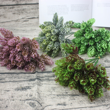 5 head / 1PCS trabecular simulation green plant cheap artificial plastic flower home table decoration wedding diy candy