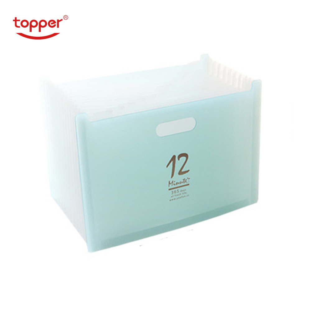 TOPPER 12 Pockets Expanding File Folder A4 Organizer Portable Business File Office Supplies Document Holder Carpeta Archivador