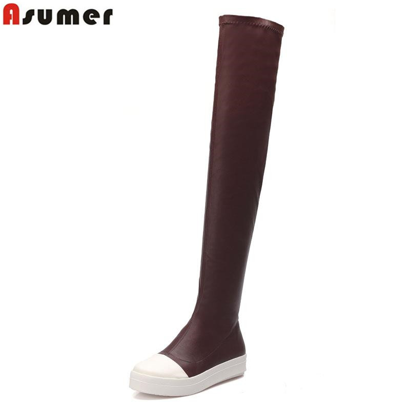 ФОТО 2017 hot sale slip-on over the knee boots for ladies simple casual solid round toe flat heels high quality women boots