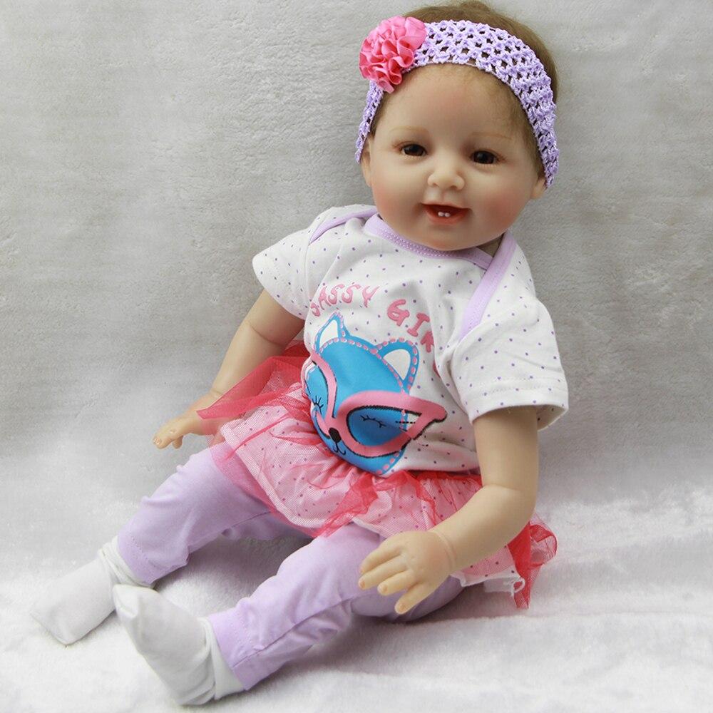 Мода 22 Reborn Baby Куклы мягкий силиконовый винил возрождается жив Куклы Улыбающееся Об ...