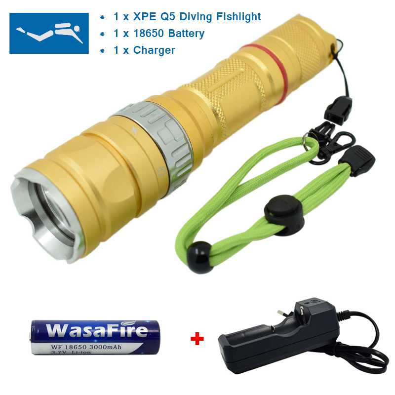 Powerful Underwater LED Diving Flashlight Professional Diving Torch 18650 Battery Waterproof Flashlight Q5 Light Lamp Lanterna hot sale q5 red led flashlight torch light tactical lanterna 18650 flash light linternas rat tail switch for hungting