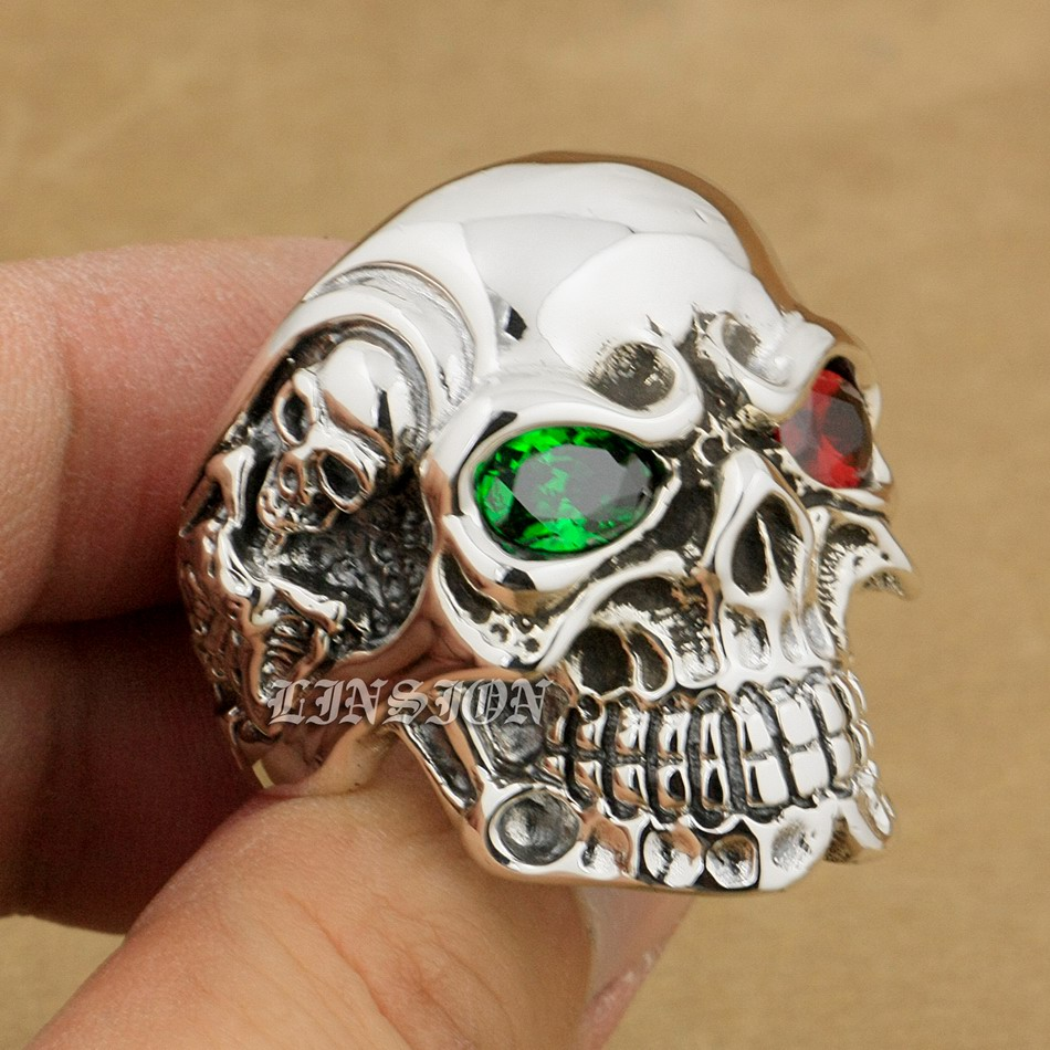 LINSION 925 Sterling Silver Titan Skull Green Red CZ Stone Eyes Mens Biker Punk Ring sterling