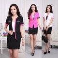 Plus Size 4XL 2015 Primavera Verão Blazer Feminino Profissional Desgaste do Trabalho de Escritório de Negócios Ternos Blazer E Saia Para As Senhoras