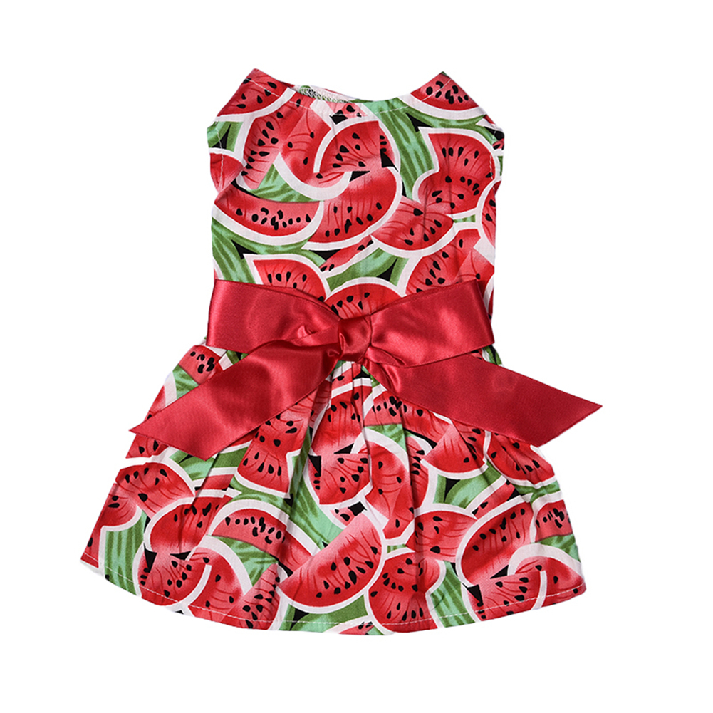New Summer Pet <font><b>Dog</b></font> <font><b>Dresses</b></font> Polyester Watermelon Patterns Pet Princess <font><b>Dress</b></font> <font><b>Dogs</b></font> Skirt Cute Pet Clothes with Bowknot <font><b>XS</b></font>/S/M/L image