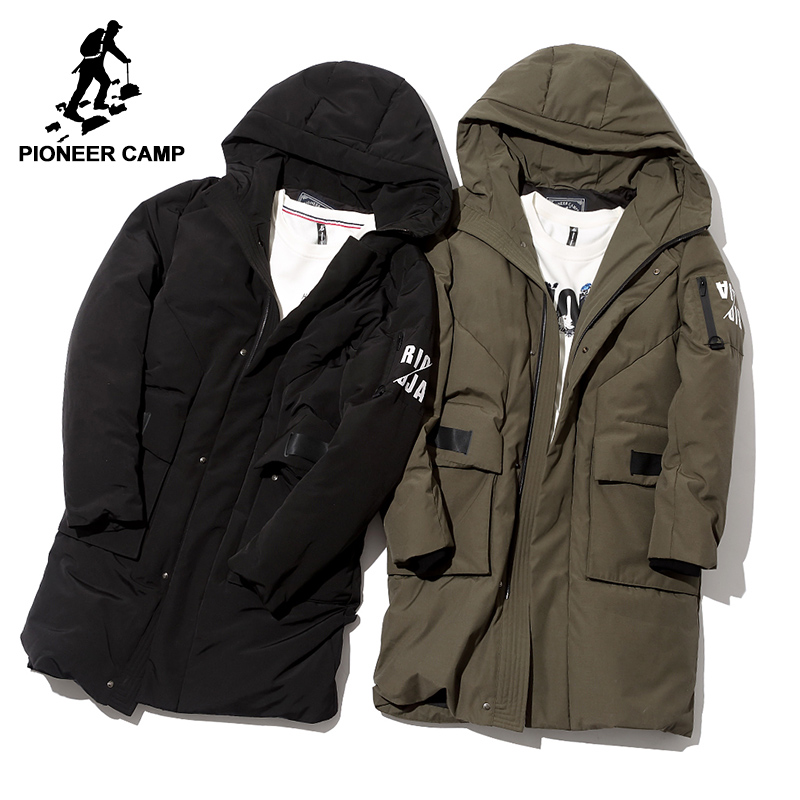 Pioneer Camp waterproof long thick down jacket men brand clothing hooded winter white duck down coat male black green AYR705252