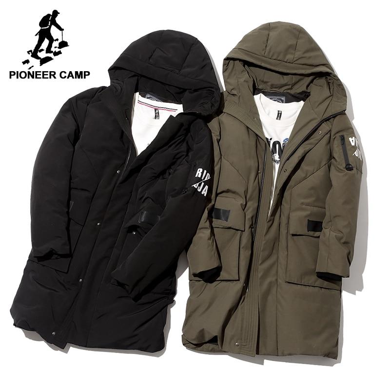 Pioneer Campo impermeabile lungo di spessore giù giacca abbigliamento di marca degli uomini con cappuccio di inverno anatra bianca giù cappotto maschio nero verde AYR705252