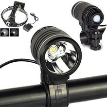 Black 2500 Lumens XM-L L2 LED Headlamp Headlight 3-Mode Cycling Blike Bicycle Head Torch Light+Ac Charger