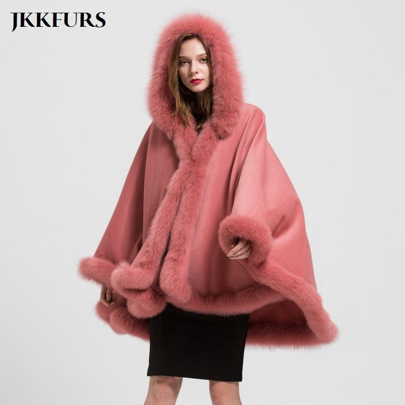 JKKFURS Réel de Fourrure De Fox Wraps Foulards Femmes D'hiver Écharpe En Cachemire Jeter Poncho Chaud Mode & Laine Cape Amovible À Capuchon S1723
