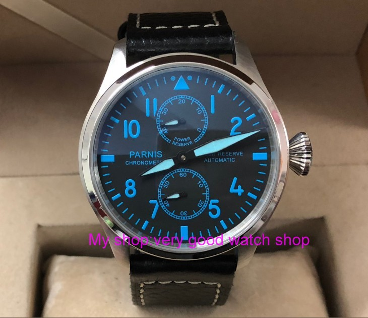 Parnis 47mm Big dial Automatic Self-Wind mechanical movement Mens watch Power reserve Mechanical watches Leather Strap pa67-p8Parnis 47mm Big dial Automatic Self-Wind mechanical movement Mens watch Power reserve Mechanical watches Leather Strap pa67-p8