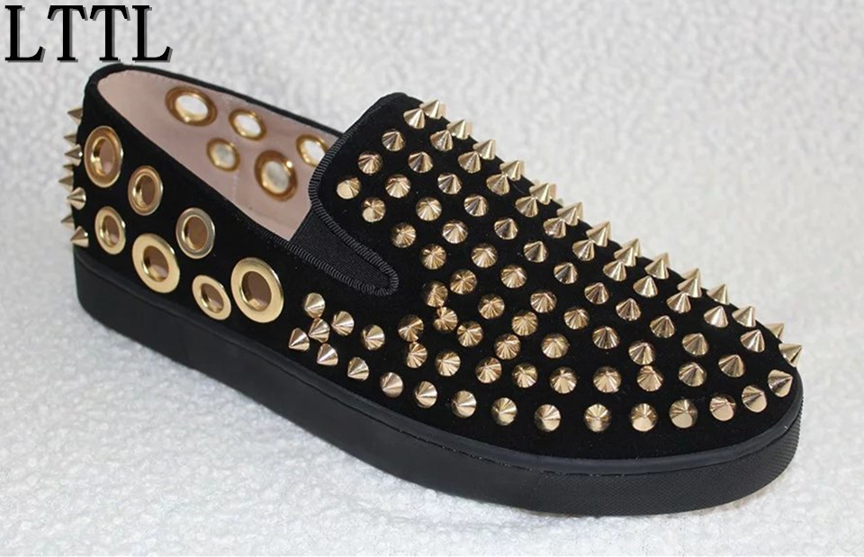 LTTL High Quality Summer Casual Shoes Men Creepers Gold Spikes Breathable Holes Flats Platform Chaussure Homme Daily Espadrilles gram epos men casual shoes top quality men high top shoes fashion breathable hip hop shoes men red black white chaussure hommre