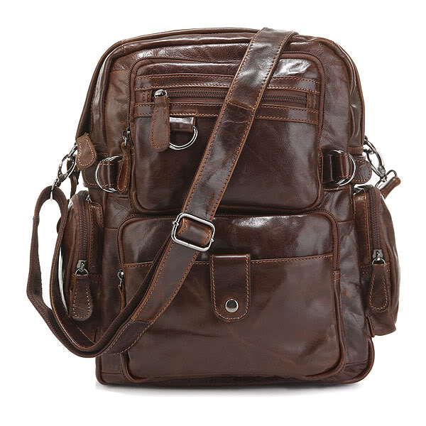 J M D Top Quality Genuine Leather Multi Pockets School Bag for College Student Fashion Brand Causal Travel Bag 7042Q in Backpacks from Luggage Bags