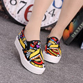 New Spring Summer Women 2017 Canvas Art Breathable Graffiti Shoes Womens Flat Driving Loafers Casual Flats Round Toe Big Size