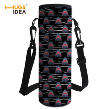 HUGSIDEA Useful Portable Water Bottle Sleeve Shark Printed Drink Bottle Carrying Pouch Bag with Handle Sport Water Bottle Cover double deck water resistant cube carrying bag pouch black