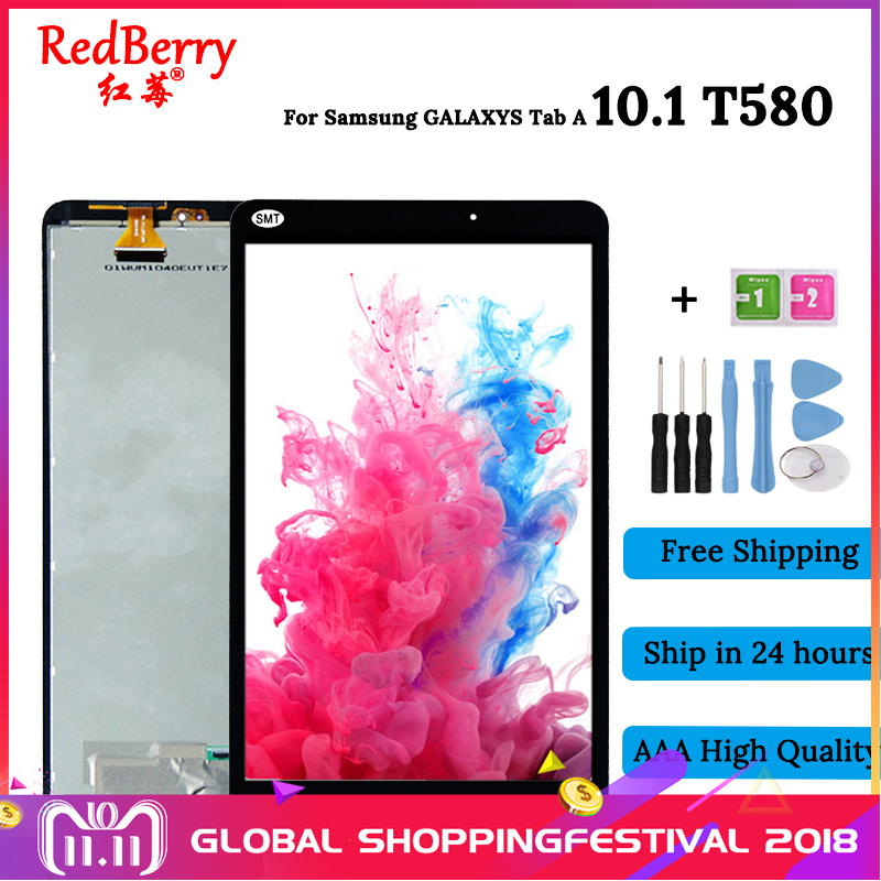 Redberry For Samsung Galaxy Tab A 10.1 T580 SM-T580 LCD Display Touch Screen Digitizer Assembly Replacement