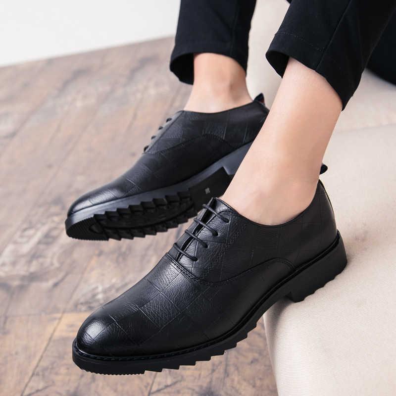 Artı Boyutu Lüks İtalyan Tarzı Moda Erkek Elbise Deri Rahat Resmi Ayakkabılar Ekose Ofis Düğün Ayakkabı Damla Nakliye