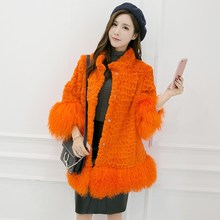 New Natural Rabbit Faux Fur Long Vest Real Rabbit Fur Winter High Quality Women Real Rex Rabbit Faux Fur Coat