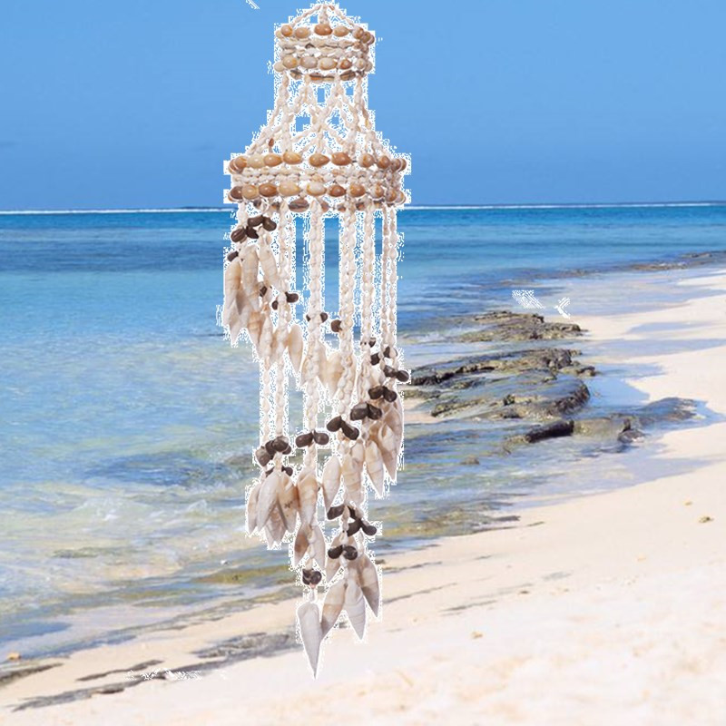 50 cm Naturel Capteurs de Rêves Moderne À La Main Corail Shell Mûr Vent Carillons Accueil Chambre Décoration Blanc