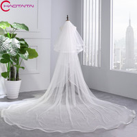 2018 White Ivory Cathedral Wedding Veils Long Ribbon Edge Bridal Veil with Comb Wedding Accessories Bride Mantilla Wedding Veil