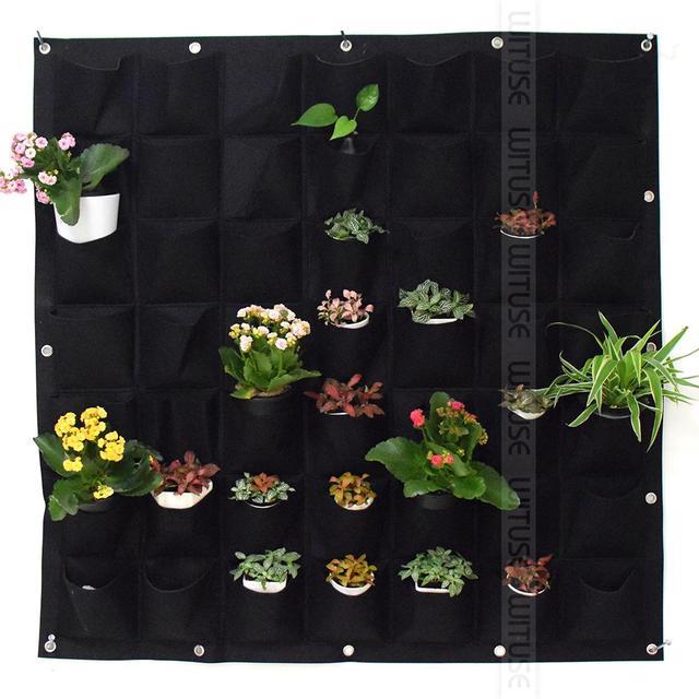 36 64 72 ポケット屋外屋内垂直園芸ウォールガーデン 4 ポケット植栽バッグ壁プランター成長バッグ