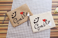 Hot Sale PP Grass Handmade Women Straw Beach Bag Fashion Smiling Face Day Clutch Wallet Bag