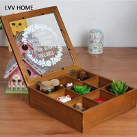 LVV HOME Creative retro wooden storage box / tea storage 9 grid glass cover cosmetics storage box