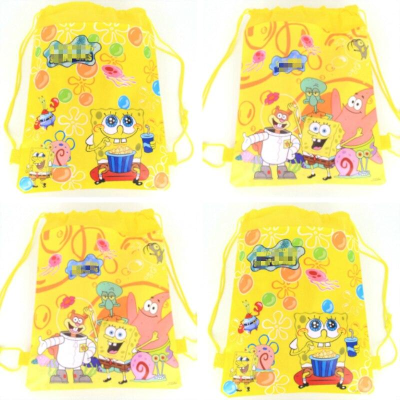 1pcs SpongeBob theme Non-Woven Fabric Drawstring Bags Birthday Backpack bag for Boy Girls Favors Gift Party Decoratios