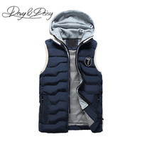 DAVYDAISY New Autumn Winter Men Warm Vest Hooded Tank Tops Cool Casual Solid 4 Colors Brand Clothing Outside Sleeveless VE009