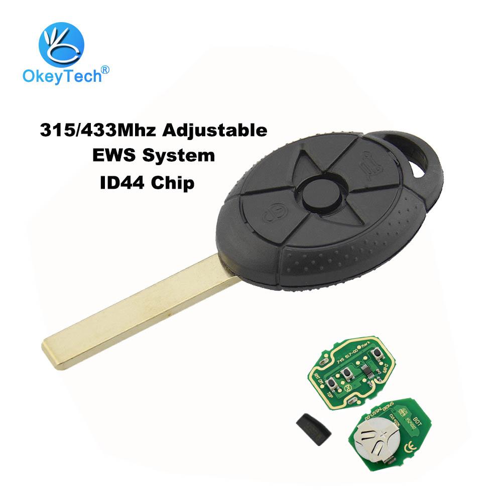 OkeyTech Car Remote Key 3 Button 315/433MHz ID44 Chip Keyless Entry Transmitter for Bmw Old Mini Cooper EWS S R50 R53 2005-2007