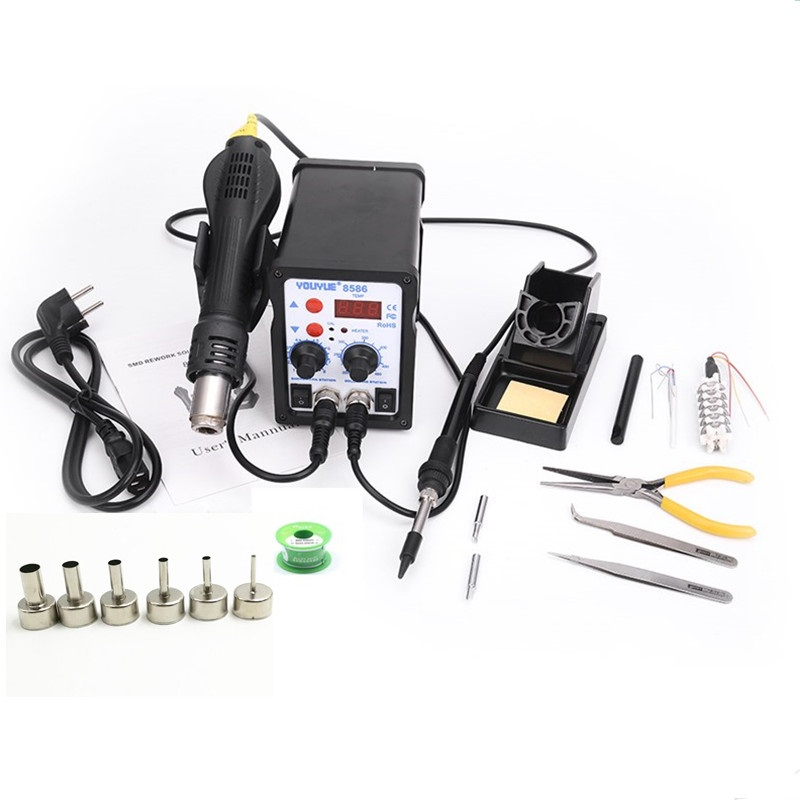 8586 2 In 1 ESD Hot Air Gun Soldering Station Welding Solder Iron For IC SMD Desoldering+Heating core+Tin wire+ 6pcs nozzles