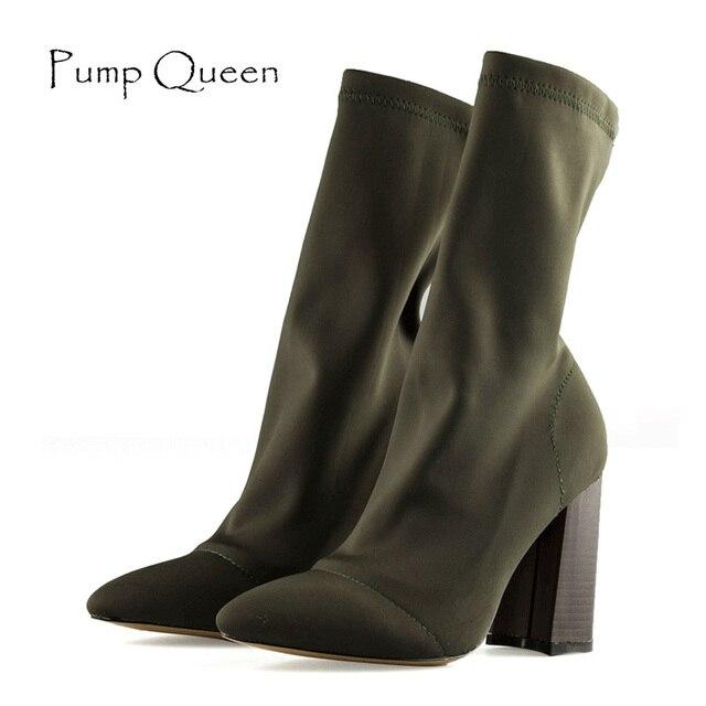 80f7c3ce4f1 Calcetines botas tacón alto chic mujeres botas 2018 zapatos femeninos de  primavera moda mujer ejército Verde