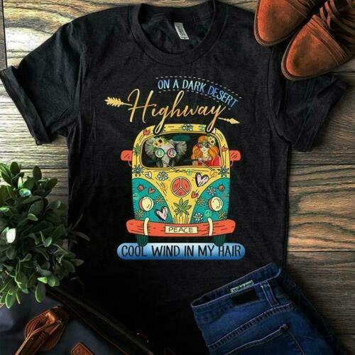 On A Dark Dessert Highway Cool Wind In My Hair Hippie Black T <font><b>Shirt</b></font> M <font><b>6</b></font> <font><b>Xl</b></font> image