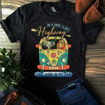 On A Dark Dessert Highway Cool Wind In My Hair Hippie Black T Shirt M 6 Xl