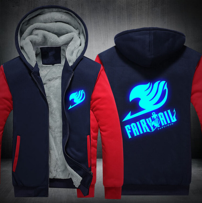 17 USA SIZE Unisex Fairy Tail Hoodies Coat Winter Fleece Thicken Luminous Men Hoodies Sweatshirts Jacket 3