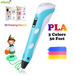 Dikale 3D ปากกาจอแสดงผล LED 2nd Generation 3D เครื่องพิมพ์ปากกาวาดภาพวาดปากกา 1.75 มม.PLA ของขวัญวันเกิดสำหรับเด็ก