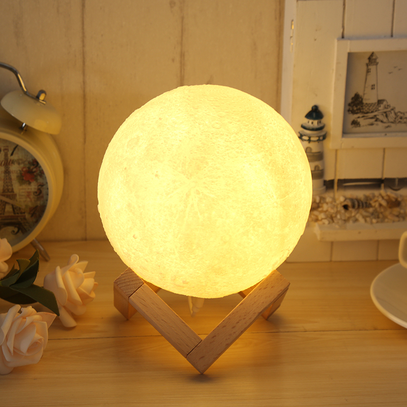 3D Moon Lamp 7 Color Change Touch usb 13cm 15cm Bedroom Bookcase Night Light Home Decor Creative Gift