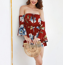 Spring and summer new style European American fashion sexy womens clothing Trumpet sleeve print jumpsuit