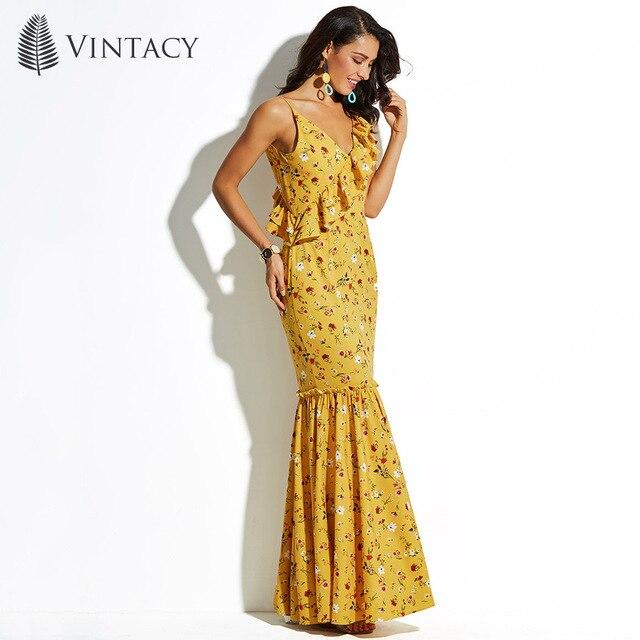 ae393377ed51 Vintacy Blumendruck Wrap Rüschen Maxi Kleid Frauen Sexy Strap V-ausschnitt  Mermaid Beach Kleid Asymmetrische