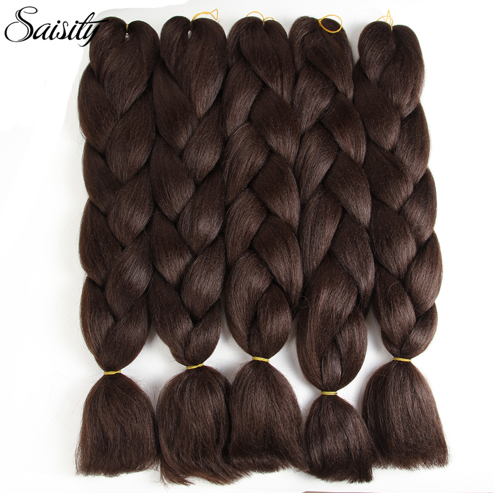 Saisity 24inch Crochet Braids Hair Extension Jumbo Braids Ombre Braiding Hair Synthetic Box Braids Crochet Hair 2/3 Tones Brown
