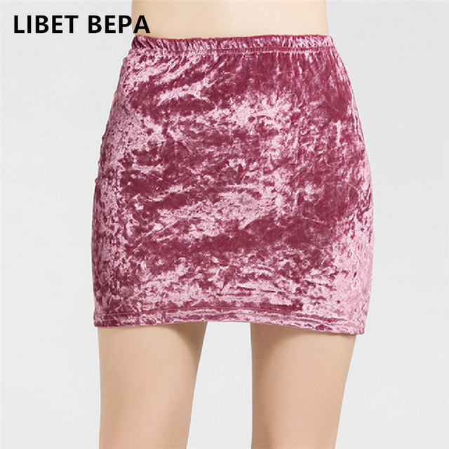 802a28b128f3f Soft velvet skirt women high waist bodycon mini skirt female plus size
