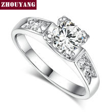 Top Quality ZYR052 Classic Crystal Ring Silver Color Wedding Ring Austrian Crystals Full Sizes(China)