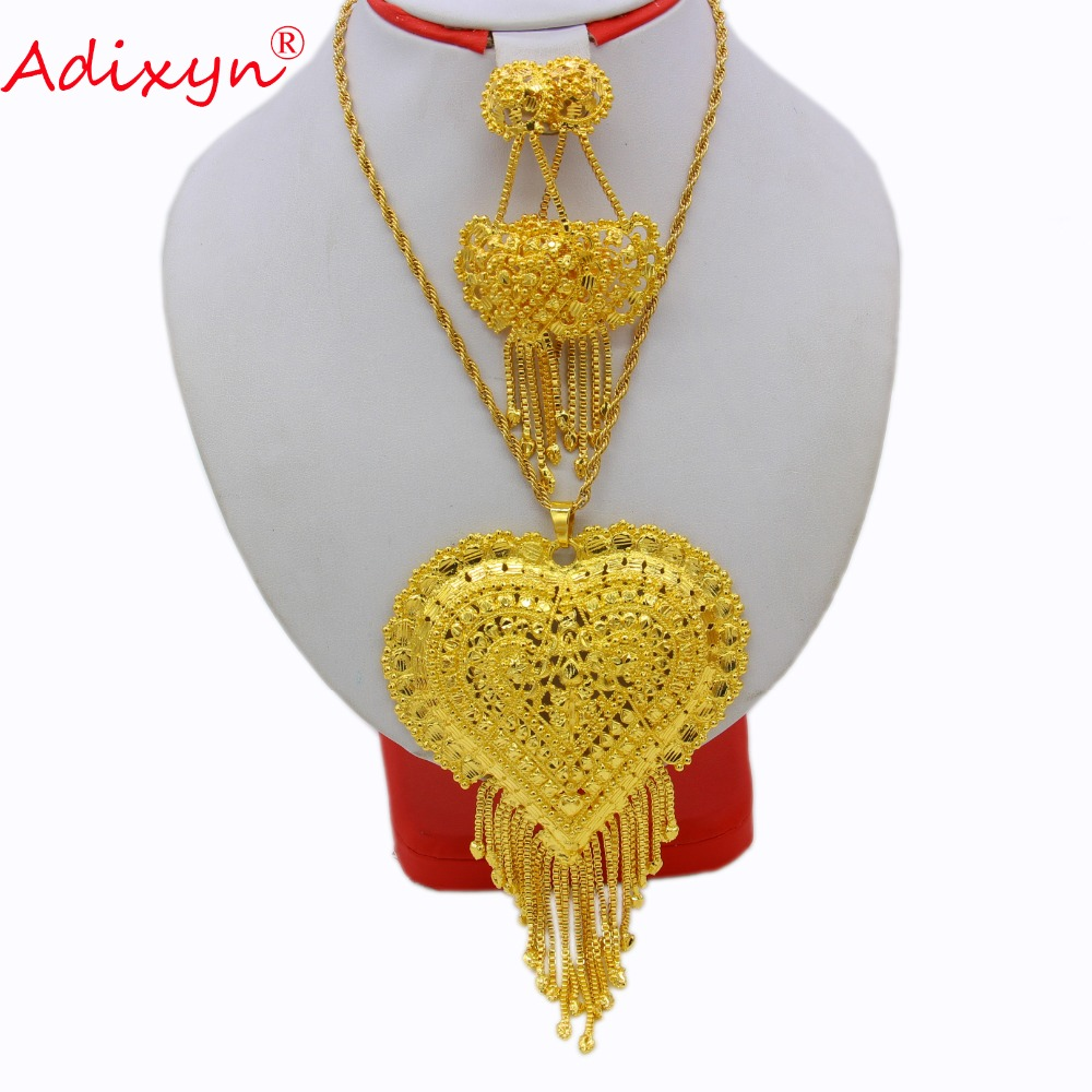 Adixyn Gold Color Heart Necklace Pendant Earrings India Jewelry Set Luxury Arab African Wedding Party Gifts