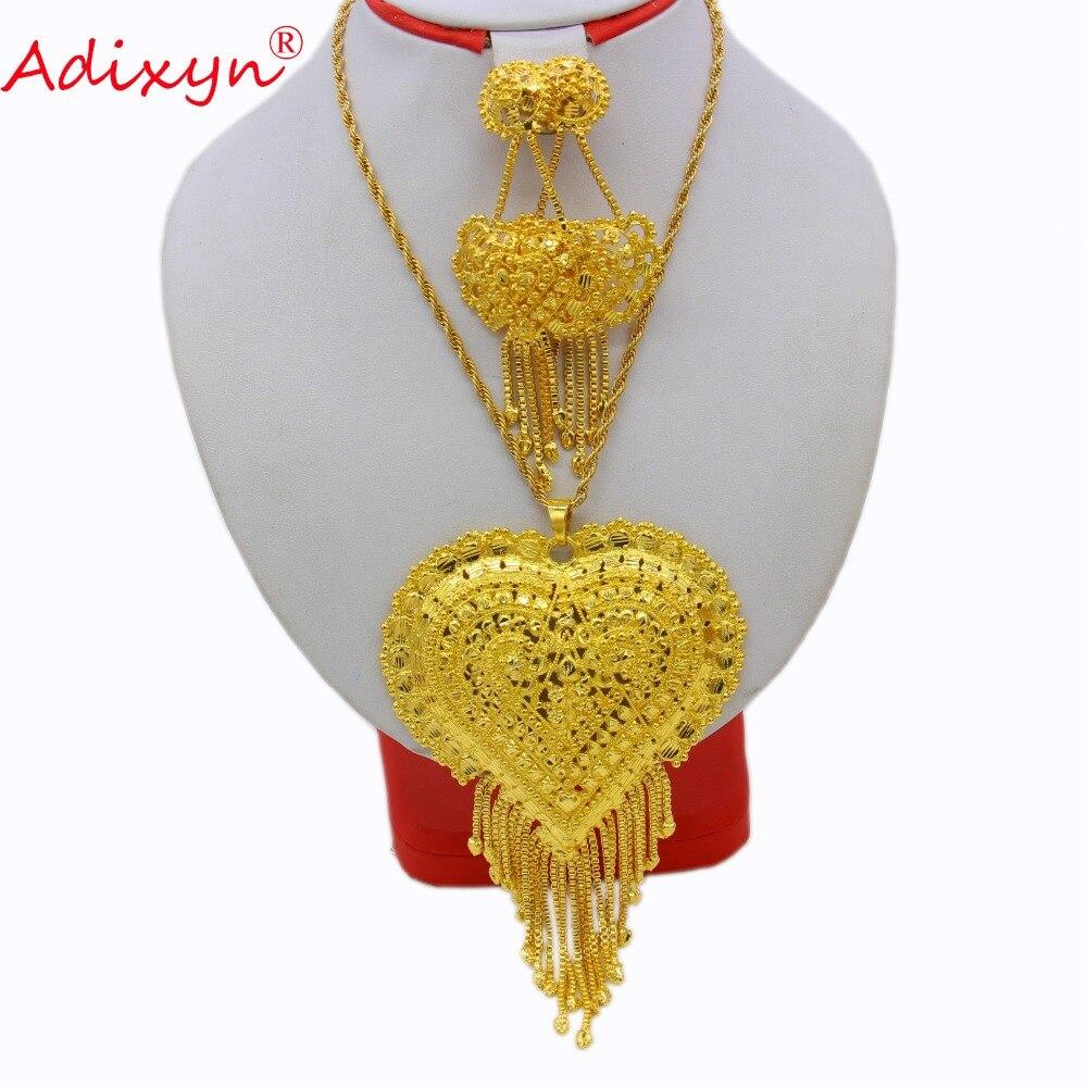 Adixyn or couleur coeur collier/pendentif/boucles d'oreilles inde bijoux ensemble de luxe arabe africain fête de mariage cadeaux boîte gratuite N12173
