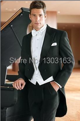 Tailcoat Groom Tuxedos Double-Breasted Peak Lapel Mejor hombre - Ropa de hombre