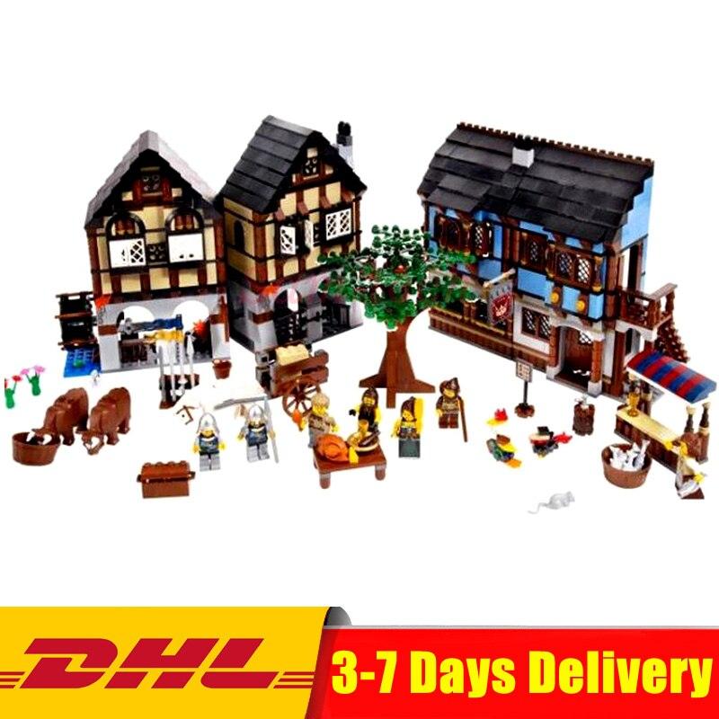 Lepin 16011 1601Pcs Castle Series The Medieval Market Village Castle Model Building Kit Block Bricks Moc Legoings