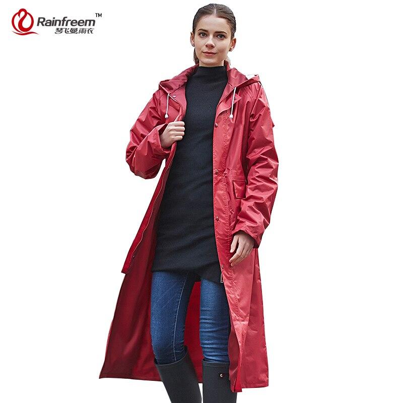 Rainfreem непроницаемый плащ Для женщин Для мужчин Водонепроницаемый Тренч  пончо двухслойный дождевик Для женщин плащи плащ-дождевик - a.wangmu.me b9ca27dd324cb
