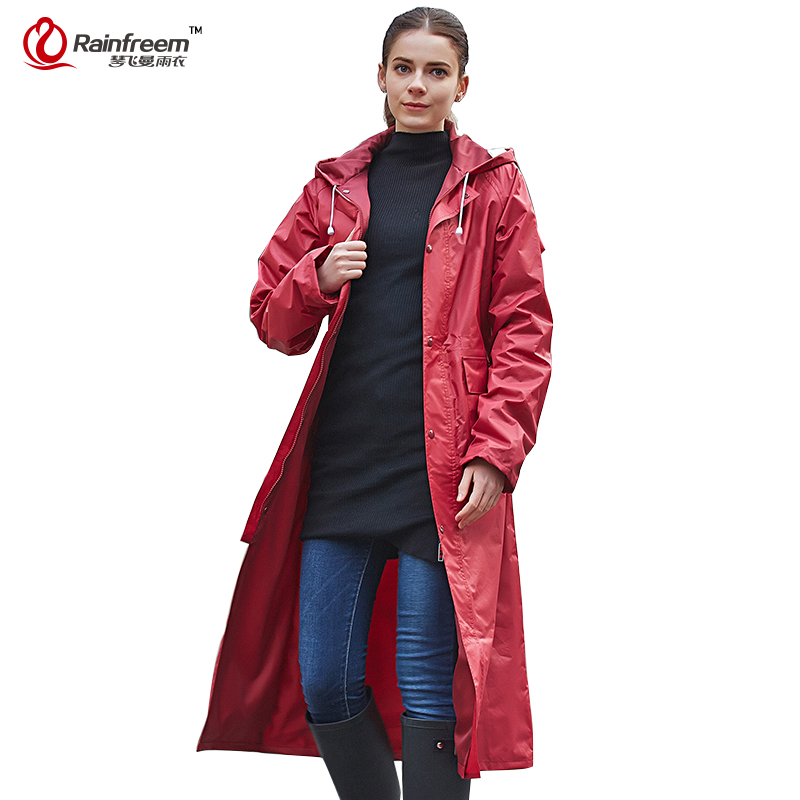 Rainfreem Impermeable Raincoat Kvinner / Menn Vanntett Trench Coat Poncho Dobbeltsjikt Regntøy Kvinner Regntøy Regnutstyr Poncho